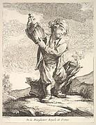 Little boy holding a vessel, from Premier Livre de Figures d'après les porcelaines de la Manufacture Royale de France, inventées en 1757, par Mr. Boucher (First Book of Figures after porcelains from the Manufacture Royale de France, devised in 1757, by Mr. Boucher)