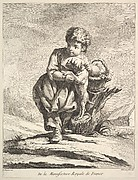 Child with a dog, holding a basket of grapes, from Premier Livre de Figures d'après les porcelaines de la Manufacture Royale de France, inventées en 1757, par Mr. Boucher (First Book of Figures after porcelains from the Manufacture Royale de France, devised in 1757, by Mr. Boucher)