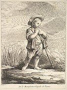 Little boy with a scythe, from Premier Livre de Figures d'après les porcelaines de la Manufacture Royale de France, inventées en 1757, par Mr. Boucher (First Book of Figures after porcelains from the Manufacture Royale de France, devised in 1757, by Mr. Boucher)