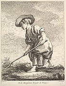 Little girl doing farm work, from Premier Livre de Figures d'après les porcelaines de la Manufacture Royale de France, inventées en 1757, par Mr. Boucher (First Book of Figures after porcelains from the Manufacture Royale de France, devised in 1757, by Mr. Boucher)