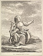Little girl playing with a dog, from Deuxième Livre de Figures d'après les porcelaines de la Manufacture Royale de France (Second Book of Figures after porcelains from the Manufacture Royale de France)