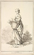 Contadina, from Recueil de diverses fig.res étrangeres Inventées par F. Boucher P.tre du Roy et Gravées par F. Ravenet (Collection of Various Foreign Figures, Devised by F. Boucher, Painter of the King and Engraved [etched] by F. Ravenet), plate 11