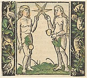 Adam and Eve Holding a Star, illustration from Beschlossen Gart des Rosenkranz Mariae