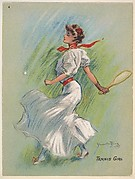 "Tennis Girl, from the series ""Hamilton King Girls"" (T7, Type 6), issued by Turkish Trophies Cigarettes"
