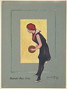 "Basketball Girl, from the series ""Hamilton King Girls"" (T7, Type 6), issued by Turkish Trophies Cigarettes"