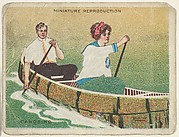 Card 309, Canoeing, from the series &quot;Artistic Pictures&quot; (T32), issued by Liggett &amp;amp; Myers Tobacco Company to promote Richmond Straight Cut Cigarettes