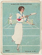Card 308, Tennis Girl, from the series &quot;Artistic Pictures&quot; (T32), issued by Liggett &amp;amp; Myers Tobacco Company to promote Richmond Straight Cut Cigarettes