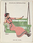 "Card 313, Swing Girl, from the series ""Artistic Pictures"" (T32), issued by Liggett & Myers Tobacco Company to promote Richmond Straight Cut Cigarettes"