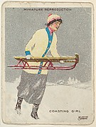 Card 317, Coasting Girl, from the series &quot;Artistic Pictures&quot; (T32), issued by Liggett &amp;amp; Myers Tobacco Company to promote Richmond Straight Cut Cigarettes