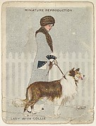 "Card 311, Lady with Collie, from the series ""Artistic Pictures"" (T32), issued by Liggett & Myers Tobacco Company to promote Richmond Straight Cut Cigarettes"