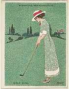 "Card 310, Golf Girl, from the series ""Artistic Pictures"" (T32), issued by Liggett & Myers Tobacco Company to promote Richmond Straight Cut Cigarettes"