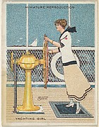 "Card 312, Yachting Girl, from the series ""Artistic Pictures"" (T32), issued by Liggett & Myers Tobacco Company to promote Richmond Straight Cut Cigarettes"