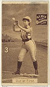 "Card 3, Out at First, from the series ""Women Baseball Players"" (N508), issued by Pacholder Tobacco to promote Dixie Cigarettes"
