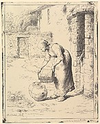 A Woman Emptying a Bucket