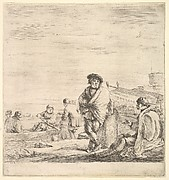 Standing sailor in center talking to a seated Levantine man to left, seen in profile, other sailors with a boat to left in the background