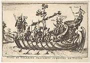 Plate 7: Peleo et Talamone Argonauti condotti da Tetide, from The magnificent pageant on the Arno in Florence for the marriage of the Grand Duke (Le Manifique Carousel fait sur le fleuve de l'Arne a Florence, pour le mariage du grand Duc)