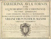 Title Page, from Barberinae aulae fornix
