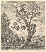 A shepherd with two horses and a peasant woman on horseback with a child in her arms to left, a large tree in center, a shepherd with a herd of animals descending a hill to right, mountains in the background, from 'Six large views, four of Rome and two of the Roman countryside' (Six grandes vues, dont quatre de Rome et deux de la Campagne romaine)
