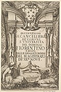 Frontispiece for 'Instructions for Chancellors' (Instruzione a' Cancellieri): Medici coat of arms at top center, below two allegorical females, between them a dove holding olive branches in its mouth, Florentine landscape at bottom center