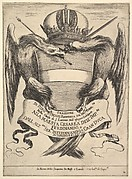 Frontispiece for 'The funeral of Emperor Ferdinand II' (Esequie dell'imperadore Ferdinando II): the imperial coat of arms in center, supported by two eagles, the eagle on the left holding a scepter in its mouth, the eagle on the right holding a sword in its mouth