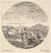 A woman carrying a child in center, seen from behind, another woman to right, facing left, following a group of cows across a river, a round composition, from 'Six animal subjects' (Six sujets d'animaux)