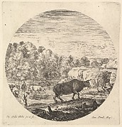 Two cows in center, followed by two peasant women and other cows in the river to left, a round composition, from 'Six animal subjects' (Six sujets d'animaux)