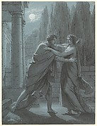 A Young Man and Woman Meeting at Night Outside a Palace