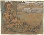 Woman and Child Resting, a Man Working in the Field Beyond