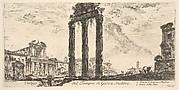 Ruins of the Temple of Jupiter Stator (Jupiter the Supporter). 1. Temple of Antoninus and Faustina. 2. Temple of Peace. (Vestigi del Tempio di Giove Statore. 1. Tempio d'Antonino e Faustina. 2. Tempio della Pace.)