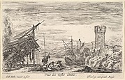 View of the coast of Italy (Veue des Costes d'Italie), the bow of a ship resting to left, a group of men playing cards in center, a tower in ruins to right in the background, from 'Views of seaports' (Vues de ports de mar)