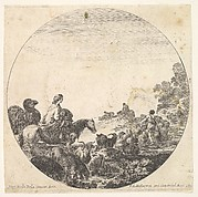 Plate 5: a woman carrying a child on a horse to left, a camel following her, a herd of goats, sheep, and a shepherd in front of her to right, a round composition, from 'Roman landscapes and ruins' (Paysages et ruines de Rome)