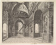 Perspective view of the interior of a hall, with cross-vault decorated with grotesques, plate 18, from Scenographiae sive Perspectivae