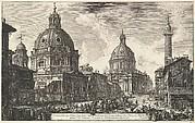 Two churches near Trajan's column, S. Maria di Loreto and Santissimo Nome di Maria (Veduta delle due chiesa, l'una detta della Madonna di Loreto, l'altra del nome di Maria, presso la Colonna Trajana)
