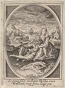 A couple seated on the ground, the man holding a goblet and reclining against the woman's leg, a ship at sea and landscape beyond