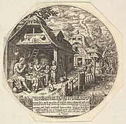 Enoch and his family surrounding a meal table and holding their hands in a gesture of prayer; behind them is the open end of house; to the right a woman hands out bread to a child, young man, and old man