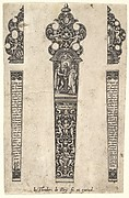 Design for knife handle to commemorate a marriage, on the handle a scene of Christ joining a man and woman in marriage with grotesque decoration below, on either side of blade two French texts from chapter 19 of the Book of Matthew, two alternative designs for the finial, after Jan Saenredam who engraved after Hendrick Goltzius