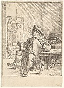 Male peasant smoking a pipe and holding a drinking cup, his left elbow resting on a table, another man seated at the table, a waitress walking through a doorway beyond, after a series of four prints showing peasants by David Teniers the Younger