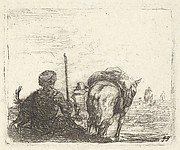 Pack-horse, seated man with staff in right hand, and dog, all viewed from the rear, from the series 'The Small Landscapes'