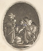 Salome receiving the head of John the Baptist, surrounded by three men and a child bearing a torch, the Baptist's body lies on the ground, an oval composition