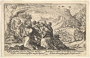God enters into a covenant with Noah: next to a smoking pyre Noah kneels in a gesture of prayer, surrounded by members of his family, a rainbow stretches over them, from a series of engravings for the 'Liber Genesis'