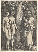 God at right forbidding the nude Adam and Eve at left to eat from the tree of knowledge in center, from 'Adam and Eve'