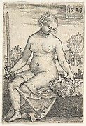 Judith, seated nude with a sword in her right hand, gazing down at the head of Holofernes in her left hand