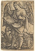 Plate 4: Saint John with his head turned three-quarters to the left, with a book in his right hand and an eagle at his feet, from 'The four evangelists'