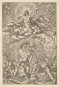 Resurrection of Christ, encompassed by an aureole and clouds with lines of winged putti to either side, a sleeping soldier and arising soldiers below