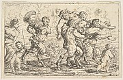 Three satyrs carrying the drunken Silenus, preceded by a putto carrying grapes; behind them a satyr carrying a large vessel, a putto, and a bare-breasted woman