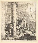 Blind Beggar Bumping A Pillar; this and 63.616.39 (2) are two plates of beggars from the story of Lazaville de Tormes.