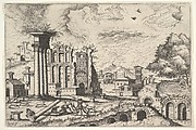 View of the Roman Forum, looking toward the Palatine Hill, from the series 'The Small book of Roman ruins and buildings' (Operum antiquorum romanorum)