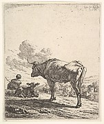 Cowherd with cow and calf on a hillside, the cowherd viewed from behind and seated in the grass, the cow standing and facing the recumbent calf, a village beyond