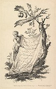 Title page: a smiling man holds a corner of a cloth tied to a fig tree and points with a stick to the cloth's inscription, from 'Recueil de plusieurs jeux d'enfants chinois' after Jean Pillement