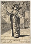 Rhetoric: a young woman standing in a decorated interior with a caduceus in her right hand and a closed fan in her left hand, from the series 'The liberal arts' (Les arts liberaux)